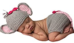 Melondipity\'s Baby Elephant and Bitty Bow Hat and Diaper Cover Set for Newborn Girls