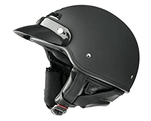 Raider Deluxe Open Face Helmet (Flat Black, Small)