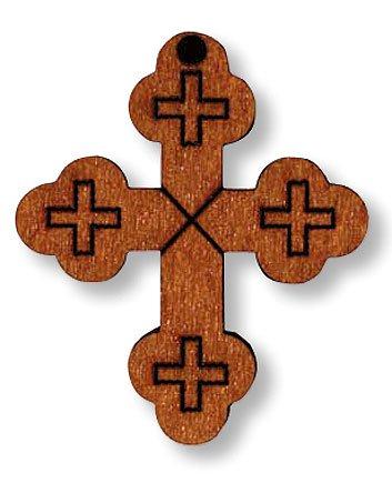 Light Tone Wooden Budded Cross Pendant Medal Charm Necklace Christian Catholic