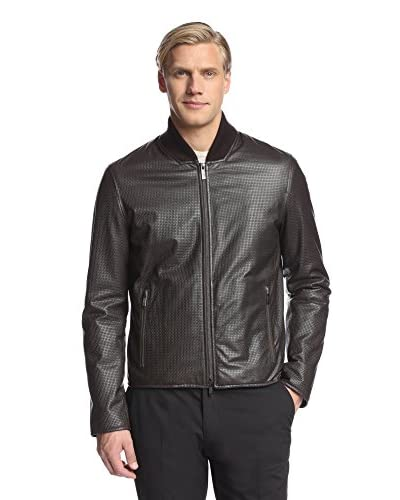 Armani Collezioni Men's Embossed Leather Jacket