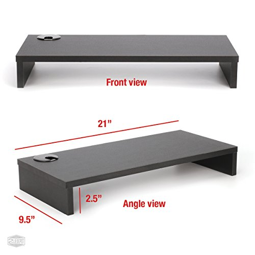 """2LB Depot Black Wood Monitor Stand Riser With Cable Hole, 9.5"""" x 21 ..."""