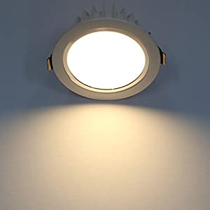 Amzdeal 9W LED Round Recessed Downlight Aluminium Alloy Ceiling Spot Light for Indoor Lighting (Warm White)