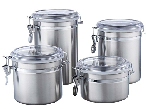 Vonshef Clip Top Jars 4 Piece Canister Set Stainless Steel Storage Jars