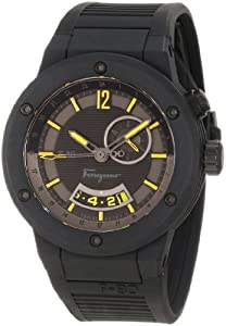 Salvatore Ferragamo Men's F55LGQ6875 S113 F-80 Stainless Steel and Black Rubber Watch from Salvatore Ferragamo