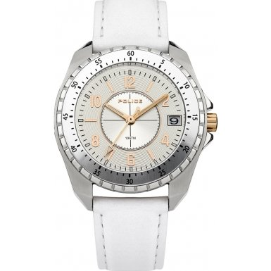 Police Miami Women's Quartz Watch with Silver Dial Analogue Display and White Leather Strap 13669MS/04A