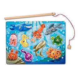 [Best price] Puzzles - Melissa & Doug Deluxe 10-Piece Magnetic Fishing Game - toys-games