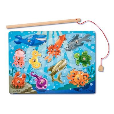 41YeTusCFDL Cheap Buy  Melissa & Doug Deluxe 10 Piece Magnetic Fishing Game