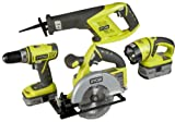 Ryobi P845 Lithium Ion 4-PC Combo Kit Drill P202, Circular Saw, Reciprocating Saw, and Light. P104 (2.4amp) P103 (1.5 amp) Batteries