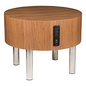 learniture round side table w electrical outlet usb walnut table chrome frame. Black Bedroom Furniture Sets. Home Design Ideas