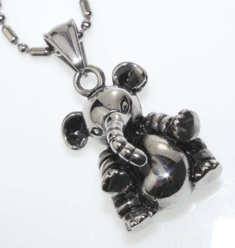 Elephant Pendant Necklace, Fine Stainless Steel