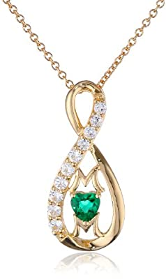 "14k Yellow Gold-Plated Created Emerald and Created White Sapphire ""Mom"" Infinity Pendant Necklace, 18"""