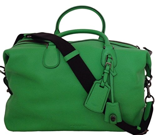 COACH Pebbled Leather Explorer Duffle Bag in Antique Nickel / Green 71666