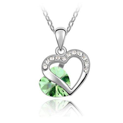 Mqueen Peridot Green Open Heart Pendant Necklace front-387700