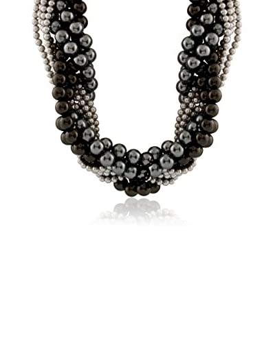 Splendid 4-5mm & 10-12mm Grey & Black Pearl Torsade Necklace