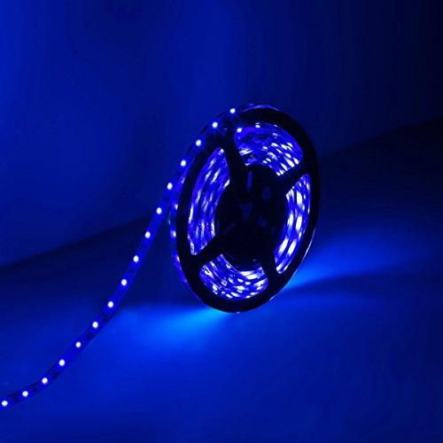 LE®  16.4ft 12V Flexible LED Strip Lights, Blue, 82 Lumens / 1.5 Watts per foot, 300 Units 3528 LEDs, Non-waterproof, Light Strips, LED Tape