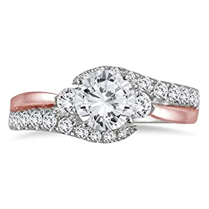 IGI Certified 1 1/4 Carat Diamond Engagement Ring in Two Tone 14K Pink and White Gold (J-K Color, I2-I3 Clarity)
