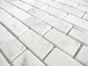 Italian White Cararra Marble Tumbled 19 x 38 x 6mm Brick Pattern floor/wall tile