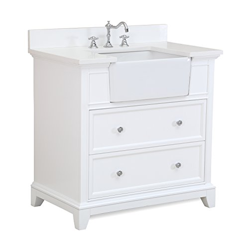 Sophie 36-inch Bathroom Vanity (Quartz/White): Includes a White Quartz Countertop, White Cabinet with Soft Close Drawers, and White Ceramic Farmhouse Apron Sink (White Quartz Countertop compare prices)