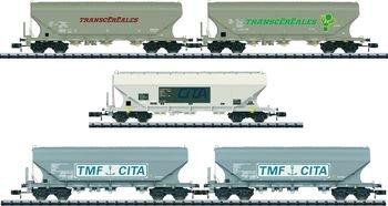 MiniTrix ausT15667 N set of 5 grain-silo wagons of SCNB