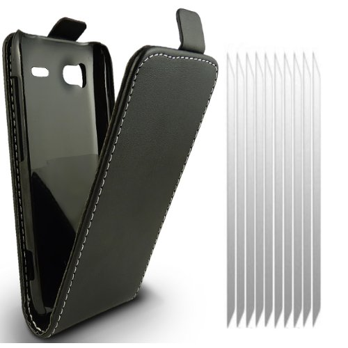 KC-Electronics HTC Sensation Black Leather Flip Case and 10x Pack Screen Protectors