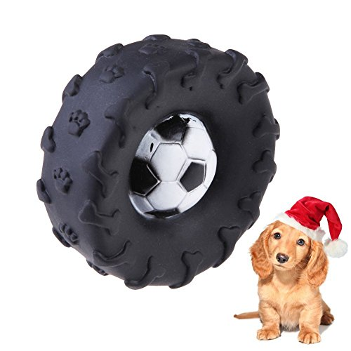Pet Dog Cat Puppy Kitten Sound Tyre Shape Squeaky Rubber Chewing Toys Black