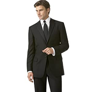 BCBG Tuxedo, Two Button Black Solid Wool Slim Fit