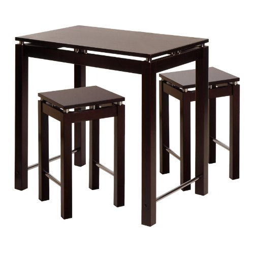 Winsome Wood Linea Pub Kitchen Set Island Table with 2 Stools, 3-Piece