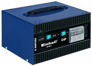 Einhell BT-BC 8 Batterieladegerät, umschaltbare Ladespannung 6 V/12 V, Bleiakkus von 20 - 120 Ah (Auto)/3,7 - 30 Ah (Motorrad), Amperemeter