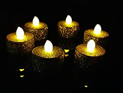 WhitePavo Flickering LED Glitter Body TeaLight Candles - Yellow Flame