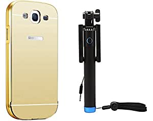 Novo Style Back Cover Case with Bumper Frame Case for Samsung Galaxy Grand 2 G7102 / G7106 Golden + Wired Selfie Stick No Battery Charging Premium Sturdy Design Best Pocket SizedSelfie Stick