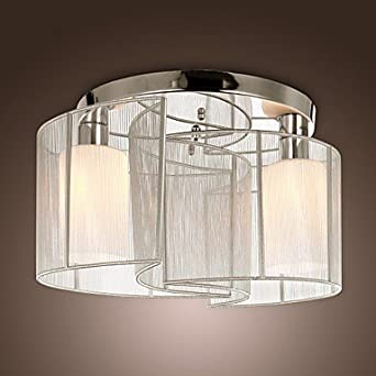 Modern Simple Designed Silver Flushmount with 2 Lights