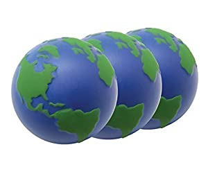 3 x Globe Stress Balls by StressCHECK - Squeezy Ball, Atlas, World Map with 3D Relief ideal for ADHD & Autism ONLY £2.58 EACH Including Postage