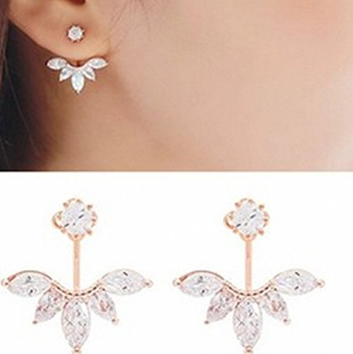 Crystal Leaf Feather Ear Jacket Earrings Back Ear Cuffs Stud Earring (rose gold)
