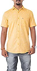 Passion Men's Regular Fit Casual Shirt (FS5009SORHS, Orangee, Small)