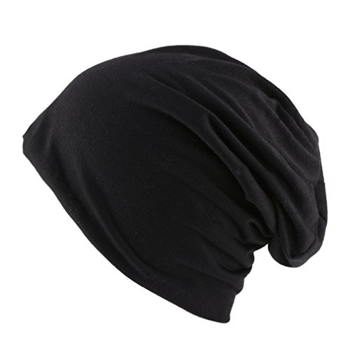 Thenice Berretto Unisex Jersey Beanie Hat Sportivo (Nero)