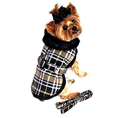 "Doggie Design Brown Classic Plaid Wool/fur Collared Harness Coat W/leash Size Medium (Chest 16-19"", Neck 13-16"", Weight 11-15lbs.)"