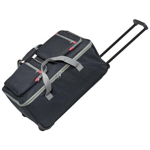 Geräumige Trolley-Reisetasche, schwarz, mit