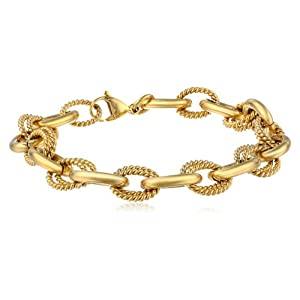 Women's Stainless Steel Link Bracelet with Gold Plating