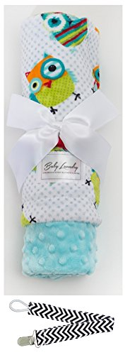 "Baby Laundry 91334 Soft Minky Colorful Owls Blue Baby Blanket 36""x30"" with Pacifier Clip - 1"