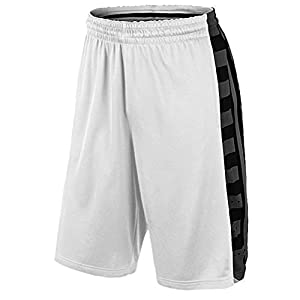 Nike Men's Elite Fanatical Dri Fit Basketball Shorts, White, Small