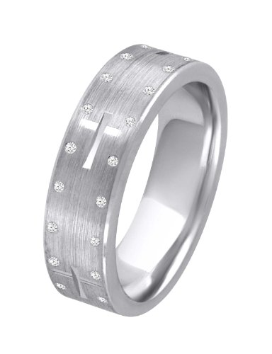 0.34ct Sterling Silver Classic Round Cut Diamonds Double Eternity Wedding Band Size - 8