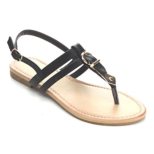 SUNNY DAY KLEAN-8 Women's T-strap Golden Buckle Sling Back Flat Casual Sandals