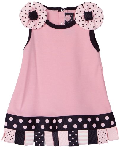 Mud Pie Baby Perfectly Princess Cotton Dress with Looped Ribbon Hem, Pink/Black, 0 - 6 Months
