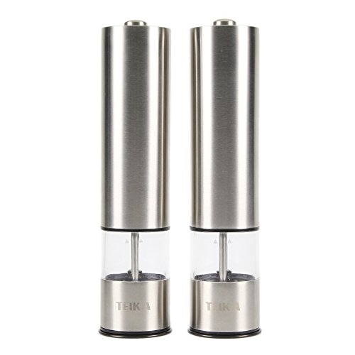 Automatic Stainless Steel Spice, Pepper, Salt Grinders and Mills -Ceramic, Battery Power, One-touch Operation Available for Home and Hotel Set of 2
