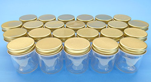 1.5 Ounce Small Glass Jelly Jars with Gold Metal Plastisol Lids. Jars and Lids Made in the USA. (24 Pack) (Apothecary Jar With Metal Lid compare prices)
