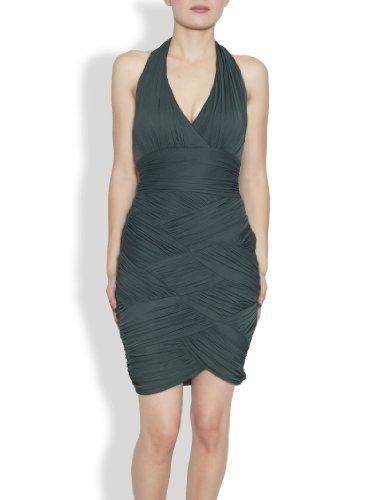 Halston Heritage Women's Halter Basketweave Dress,Moss, Small