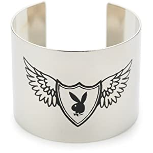 Playboy Black Bunny Shield Silver-Tone Cuff