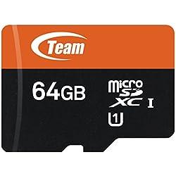 Team TUSDX64GUHS03 64GB UHS-I / U1 533x microSDXC Memory Card with Adapter