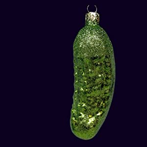 """4"""" Noble Gems Christmas Traditions Green Glitter Pickle Glass Holiday Ornament"""