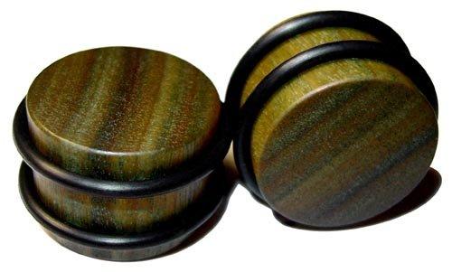 42mm Organic Lignum Vitae O-Ring Straight Exotic Wood Plugs